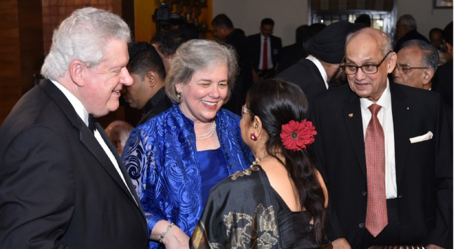 Gay speaks with Binota as RIPE Maloney and PRIP Kalyan Banerjee look on, during the couple's recent visit to Mumbai. Also seen in the picture is PRIP Rajendra Saboo (right).