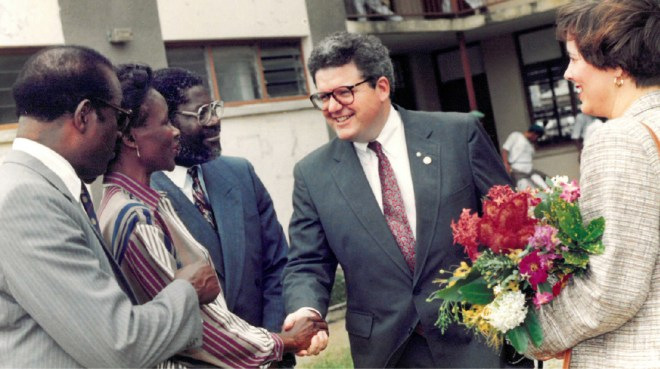 RIPE Maloney and Gay visiting a school in Lagos, Nigeria, in 1990, after he had completed his term as DG, RID 686.