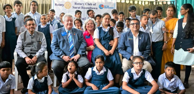 RIPE Maloney and Gay with RIDE Bharat Pandya during their visit to a school for mentally-challenged children in Surat.