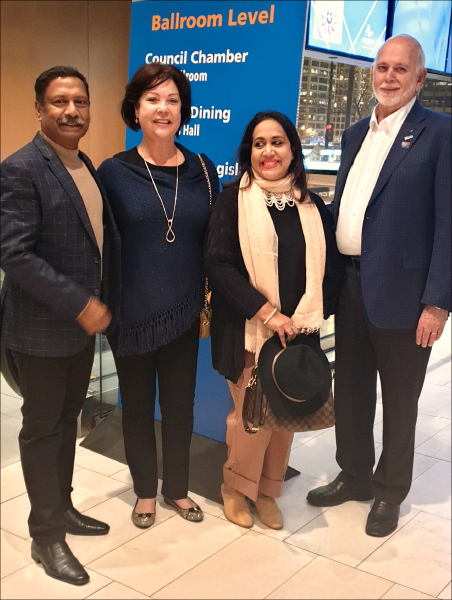 Ravishankar and Paola with RI President Barry Rassin and Esther.