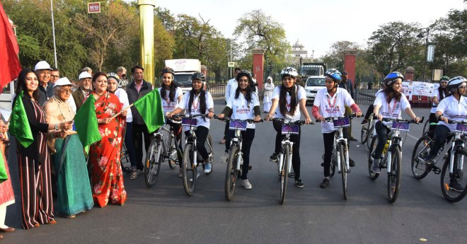 Rotary Club of Jaipur, RID 3054, observed International Women's Day this year by conducting an all-women's bicycle rally in the city to raise awareness on women's education and empowerment. The event was flagged off by Rajasthan Minister of State for Women and Child Development Mamta Bhupesh and former Speaker of the State Sumitra Singh.