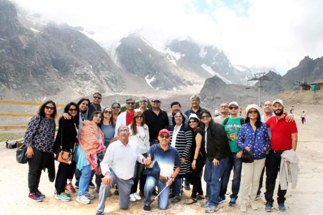 RID 3141 Rotarians with DG Shashikumar Sharma and spouse Rita at a scenic spot in Almaty, Kazakhstan.