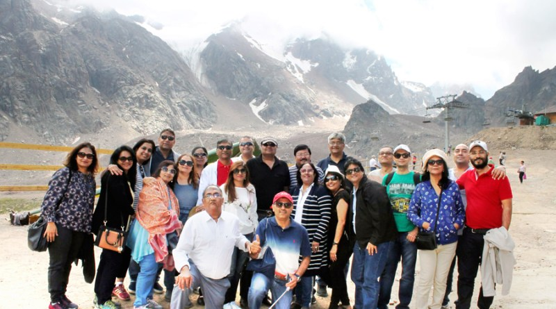 RID 3141 Rotarians with DG Shashikumar Sharma and spouse Rita at a scenic spot in Almaty, Kazakhstan.