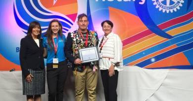"Rotary District 6960 Governor Sandra Hemstead, Marco Island Academy Interact Club Representative Emily ""MJ"" Boxma, Rotary Exchange Student (from Brazil) Guilherme Kach Das Cas, and Noontime Rotary Club President Pat Rutledge. Photo: Submitted"