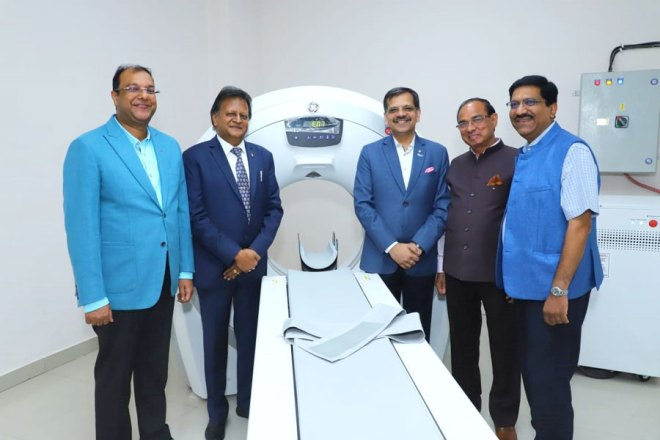 DGN Alok Gupta, PDGs J K Gaur and Sharat Jain  at the new CT scan facility.