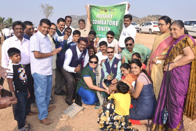 DG A V Pathy along with Rotarians at the launch of a  Mega Trees Project at Shanti Vanam near Coimbatore.