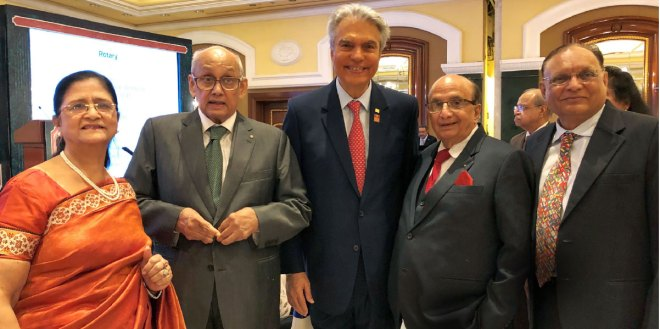 From L: Nayantara Mahajan, PRIP Kalyan Banerjee, TRF Trustee-nominee Aziz Memon, PRID Ashok Mahajan and PDG Rahul Timbadia in Mumbai.