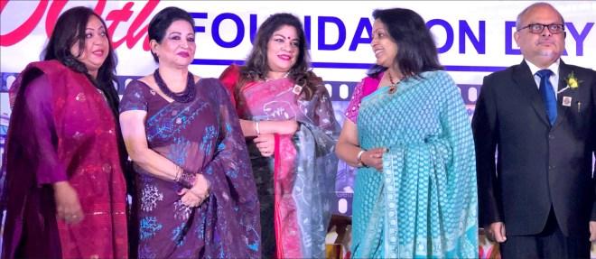 Purnendhu Choudhury and Rashi Mehta with Rotarians from Dhaka.