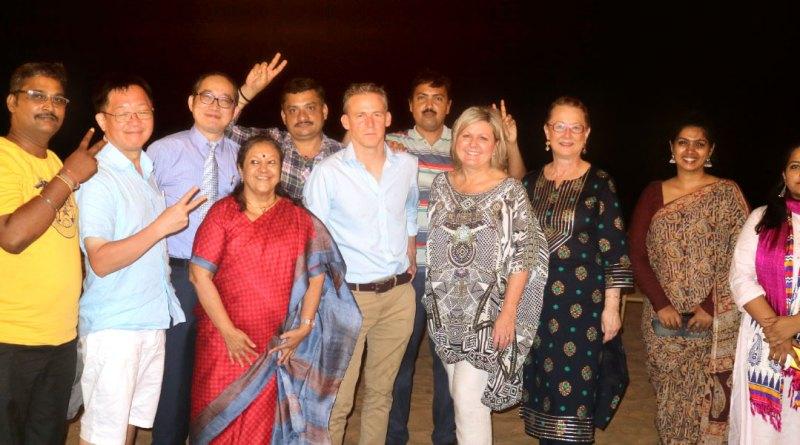 David Alexander and Donna Cotter with Rasheeda Bhagat (Editor, Rotary News); Yotharvut Vanit (Editor-in-Chief, Rotary Thailand); Henry Y T Shao (Editor, Taiwan Rotary); Gay Kiddle (General Manager, Rotary Down Under from Australia); Jyoti Rai, Senior PR Coordinator, RISAO, and Rotary News staff — K Senthilkumar, K Vishwanathan, V Muthukumaran and Kiran Zehra.