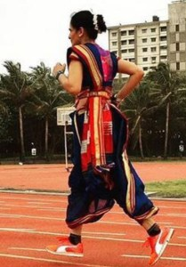 Marathon, the Indian way Running the marathon in traditional Indian attire is becoming popular now. Many women (and men) are now being found running in saris, salwar kameez and burqas. Kranti Salvi (50) and Jayanthi Sampathkumar (46) created world records by running wearing nine-yard saris, in 2018 and 2017. Recently, Mumbaikar Shaheda Karolia (31) ran the marathon in a burqa and Pune is even organising sari runs. The idea is to prioritise women's health, without them having to worry about their attire. Jayanthi finds the Tamil madisar style of draping the most convenient for running!
