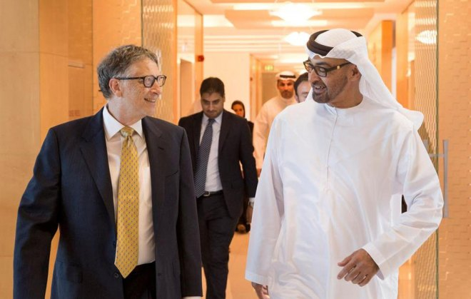 Bill Gates with Abu Dhabi Crown Prince Sheik Mohamed bin Zayed.