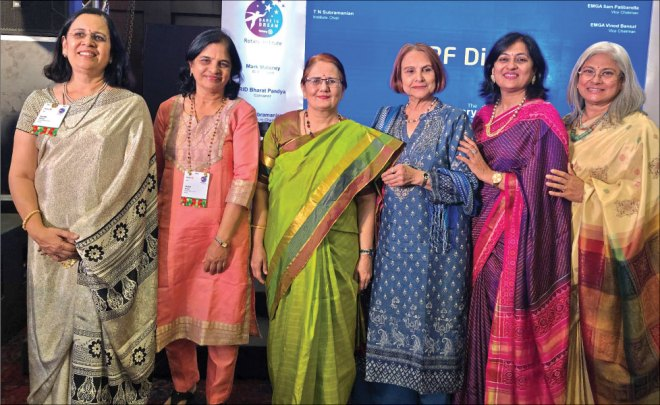From L: Nilima, wife of PDG Dr Balkrishna Inamdar; Veena, wife of PDG Dr Deepak Purohit; Madhavi Pandya; Marlene, wife of PDG J B Kamdar; Sonal Sanghvi and Vidhya Subramanian.
