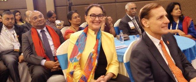 (Clockwise) RI General Secretary John Hewko, Margarita, PRID C Basker, PDG Ravi Vadlamani, Mala, PDG J B Kamdar and Vinita Venkatesh.