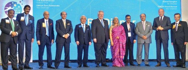EMGAs Vinod Bansal, Sam Patibandla, Trustee Vahanvaty, RID Kamal Sanghvi, Trustee Kita, President Maloney, Vidhya, Institute Chair TN Subramanian, RIPN Shekhar Mehta, Trustee Chair-elect KR Ravindran and RID Bharat Pandya.