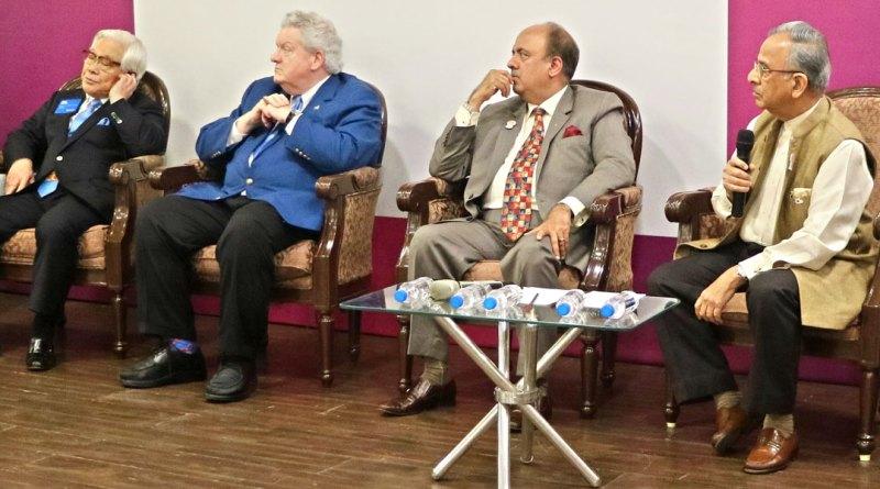 From L: RI General Secretary John Hewko, TRF Trustee Chair-elect K R Ravindran, TRF Trustee Seiji Kita,  RI President Mark Maloney, RIPN Shekhar Mehta, PRIPs Rajendra Saboo and Kalyan Banerjee.