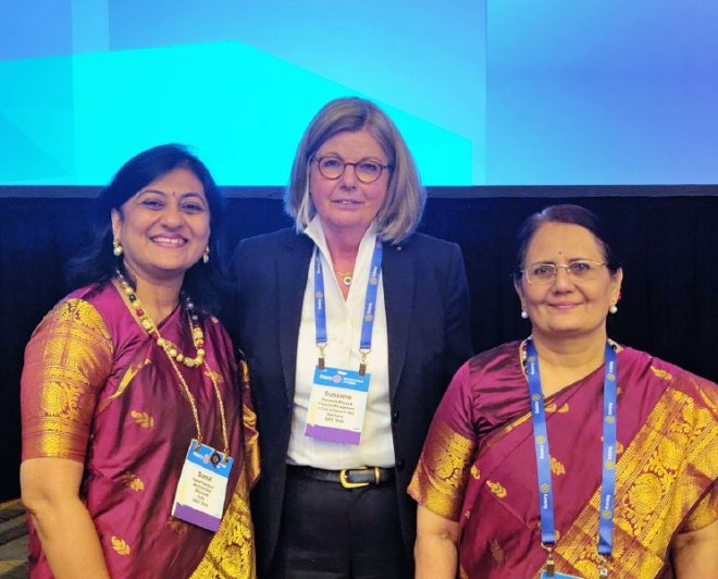 Susanne Knaack with Sonal Sanghvi and Madhavi Pandya.