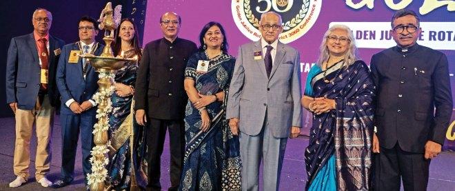 (From L) Conference Chair Dharmin Desai, DG Anish Shah and Swati, RID Kamal Sanghvi and Sonal, PRIP Kalyan Banerjee, Vidya and RIPR TN Subramanian.