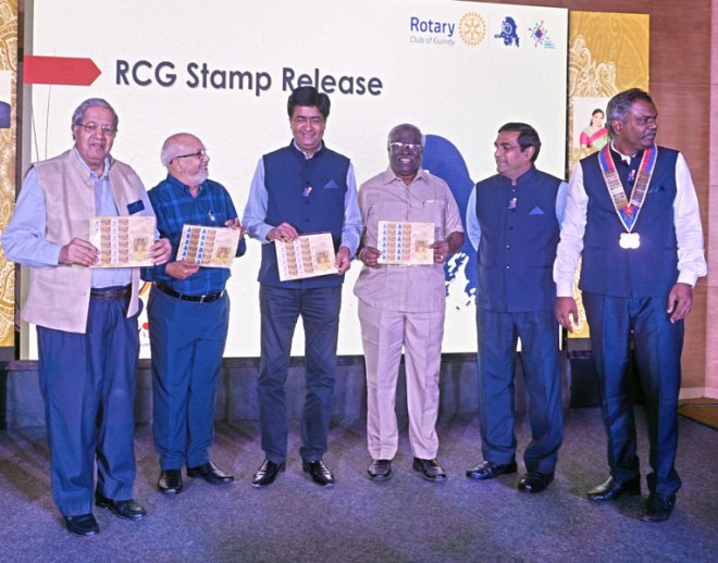 From Left: PDGs Krishnan V Chari, A Subramaniam, RIDN A S Venkatesh, PDG Sampath Arumugam, past president Sathish Kumar and RC Guindy President R Sivaraman releasing a postal stamp to commemorate the silver jubilee of the club.