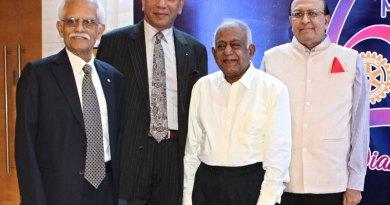 From left: PDG Ramakrishna Raja, TRF Trustee Chair Elect KR Ravindran, charter member RN Veerappan and PRID PT Prabhakar.