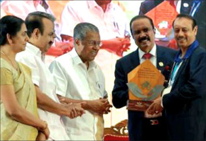 Kerala Chief Minister Pinarayi Vijayan felicitated PDG AV Pathy, RID 3201, for Rotary's contribution in building houses for people who lost their homes in the 2018 floods that ravaged major parts of Kerala. Soon after the deluge PRID C Basker launched 'Project Hope' to build houses for the flood victims, in partnership with Aster Group, a healthcare conglomerate. RID 3201, under then DG Pathy, had constructed 305 houses in the region. The project is being coordinated by Rtn Admiral Muralidharan.