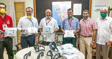 Members of RC Panaji Riviera with PPE kits and masks given to the DHS, Goa.