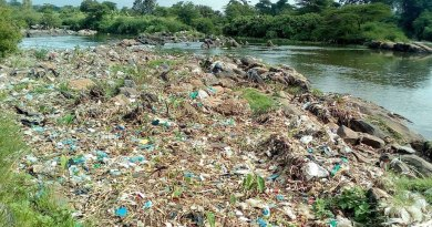 Solid waste along Athi River, Kenya.