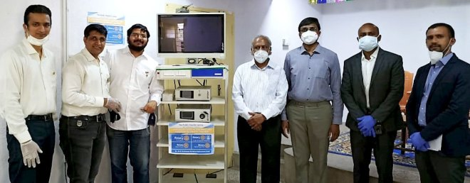 Members of RC Madras Midtown with the laproscopy equipment at the PHC.