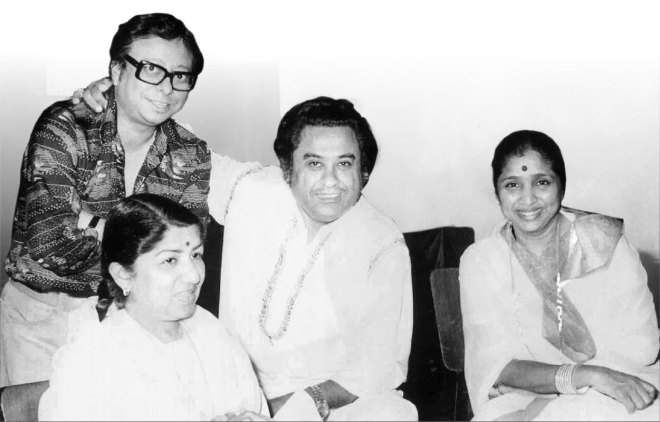 Lata with (from L) music director R D Burman, playback singer Kishore Kumar and her sister Asha Bhosle.