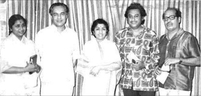 Above: (From L) Asha Bhosle, Mukesh, Lata Mangeshkar, Kishore Kumar and Manna Dey.
