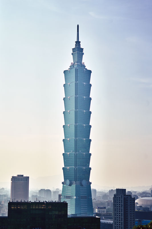 The tallest building in the world when it was completed in 2004, Taipei 101 is an engineering marvel, built to withstand magnitude 9.0 earthquakes.