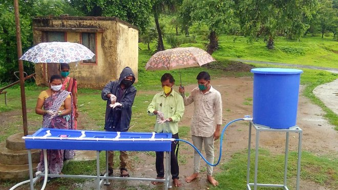 A specially designed handwash station conceptualised by RC Bombay in consultation with Nilkamal Industries.