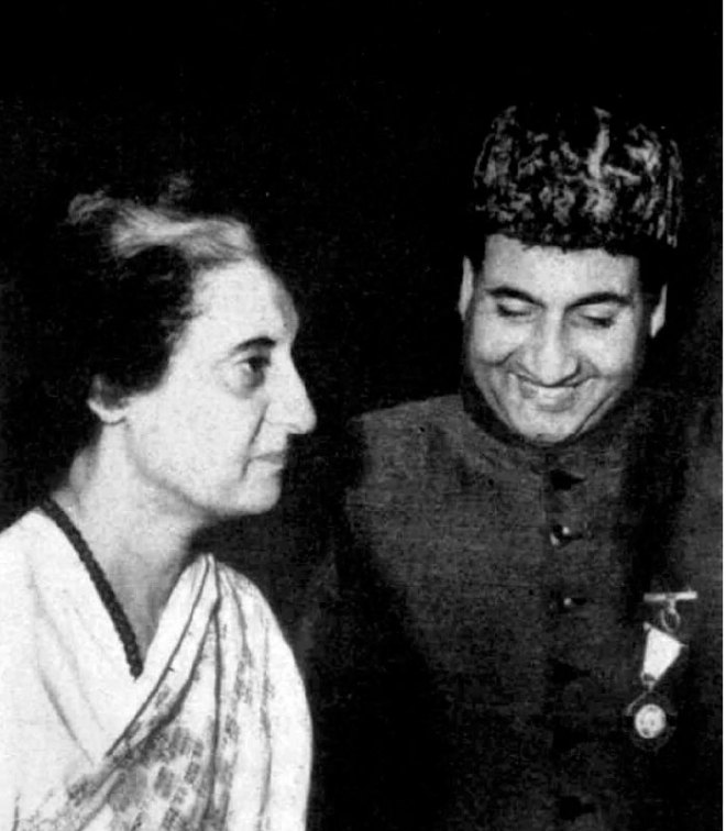 with former Prime Minister of India, Indira Gandhi.
