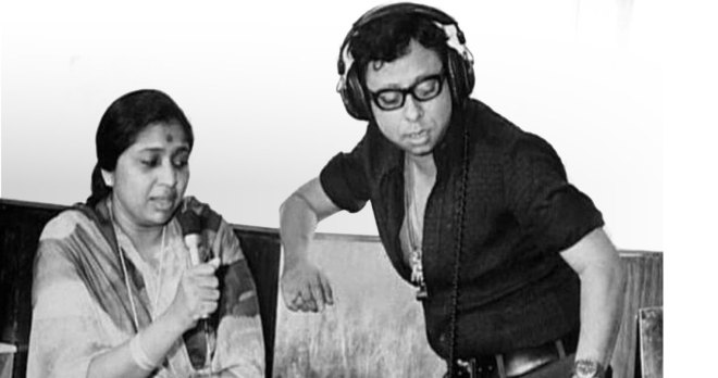 At a recording studio with RD Burman.