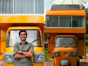 """A mobile home on autorickshaw A Chennai-based architect Arun Prabhu NG converted an autorickshaw into a mobile home which went viral on social media. The architect wanted to demonstrate the efficient use of space. His design drew praise from Anand Mahindra, chairman of Mahindra Group. Sharing a post about Prabhu's mobile home, the business tycoon tweeted """"I'd like to ask if he'll design an even more ambitious space atop a Bolero pickup. Can someone connect us?"""" The home built at the cost of `1 lakh can accommodate a single person and has solar panels, a water tank, batteries, cupboards, doors, a staircase, a toilet, a lounge area, bedroom and a workspace."""