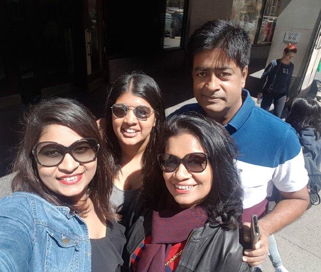 Vinita and RIDE Venkatesh with their daughters Varsha (left) and Varuna.