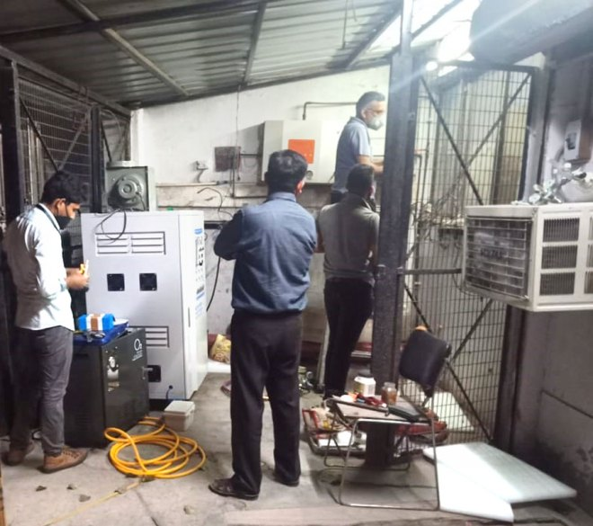 An oxygen generating plant being installed at a hospital in Delhi.