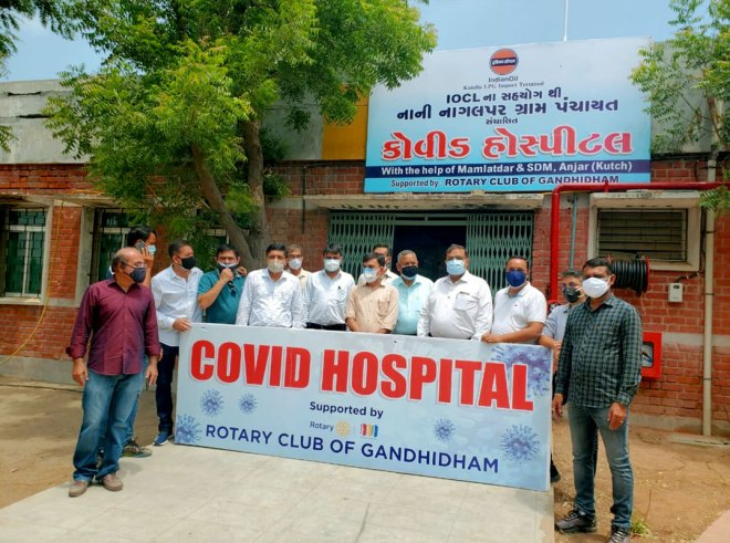 Project team of RC Gandhidham at the inauguration of Covid Hospital in Anjar.