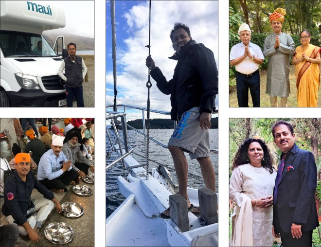Clockwise from bottom left: Mahesh Kotbagi at the Golden Temple in Amritsar; with an RV in New Zealand; sailing in Norway; with his parents Dr Shripad and Usha Kotbagi; with Amita.