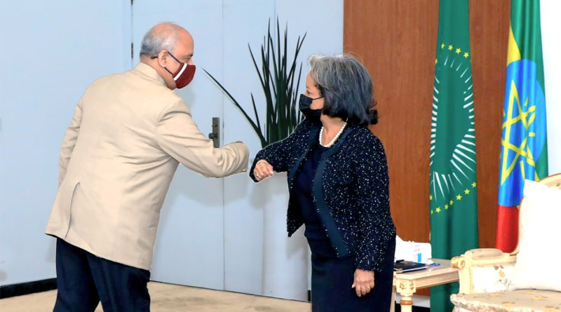 RI President Shekhar Mehta greets the President of Ethiopia Sahle-Work Zewde with an elbow shake.