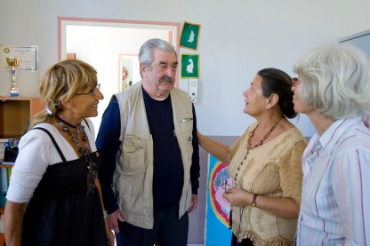 "A patient is welcomed to La Halte Repit, or ""A Pause for Rest,"" a Rotary club-sponsored day center for people with Alzheimer's disease."