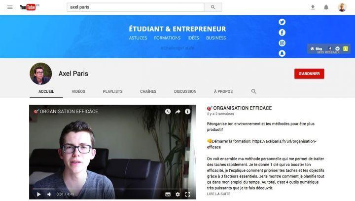 chaine youtube axel paris designer développeur