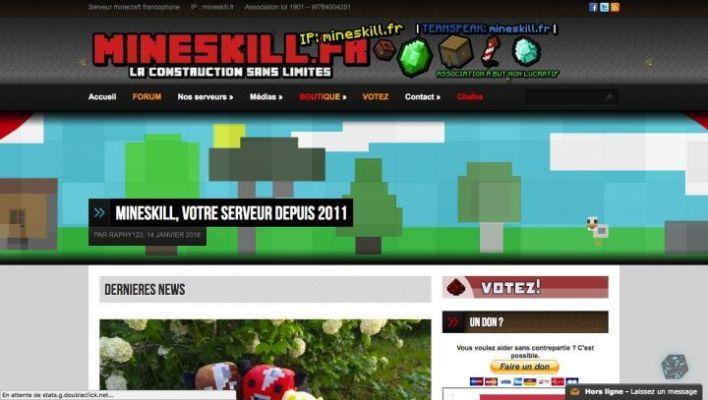 site web mineskill serveur minecraft raphaël liagre