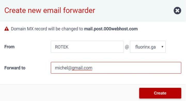 Configuration d'une adresse mail sur 000webhost