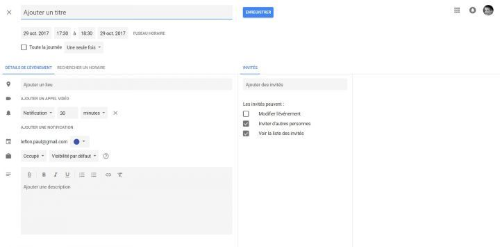 Nouvelle interface du Google Agenda