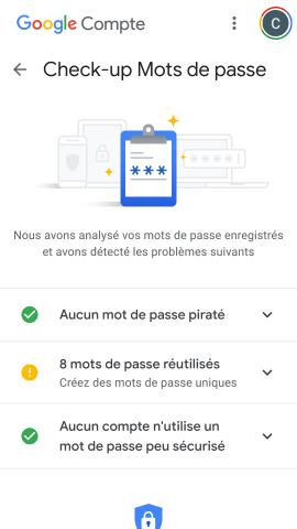 Page Checkup mot de passe Google Passwords