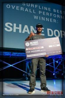 Shane Dorian accepts the Surfline Best Overall Performance Award