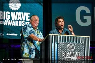 (L-R) Surf legend Greg Noll and current star Greg Long