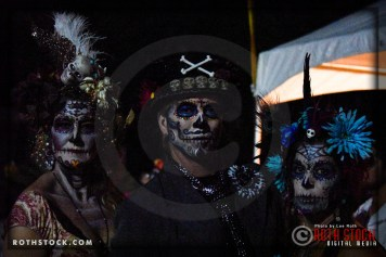 Costumed characters attend Dia De Los Muertos - Shamanic Visions of the Huichol at Hollywood Forever