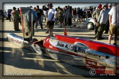 Team McLeish Bros. prepare for their run at SCTA - Southern California Timing Association's Land Speed Races at El Mirage Dry Lake