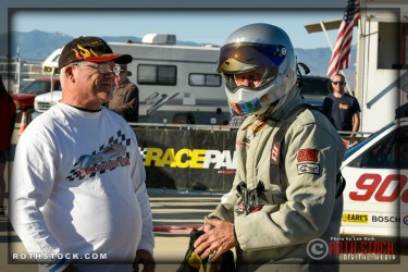 Rider Derek McLeish (R) of Team McLeish Bros. prepares for his 172.374mph run at SCTA - Southern California Timing Association's Land Speed Races at El Mirage Dry Lake